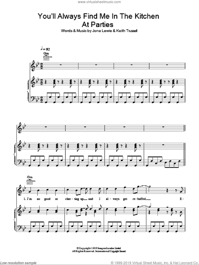 You'll Always Find Me In The Kitchen At Parties sheet music for voice, piano or guitar by Jona Lewie and Keith Trussell, intermediate