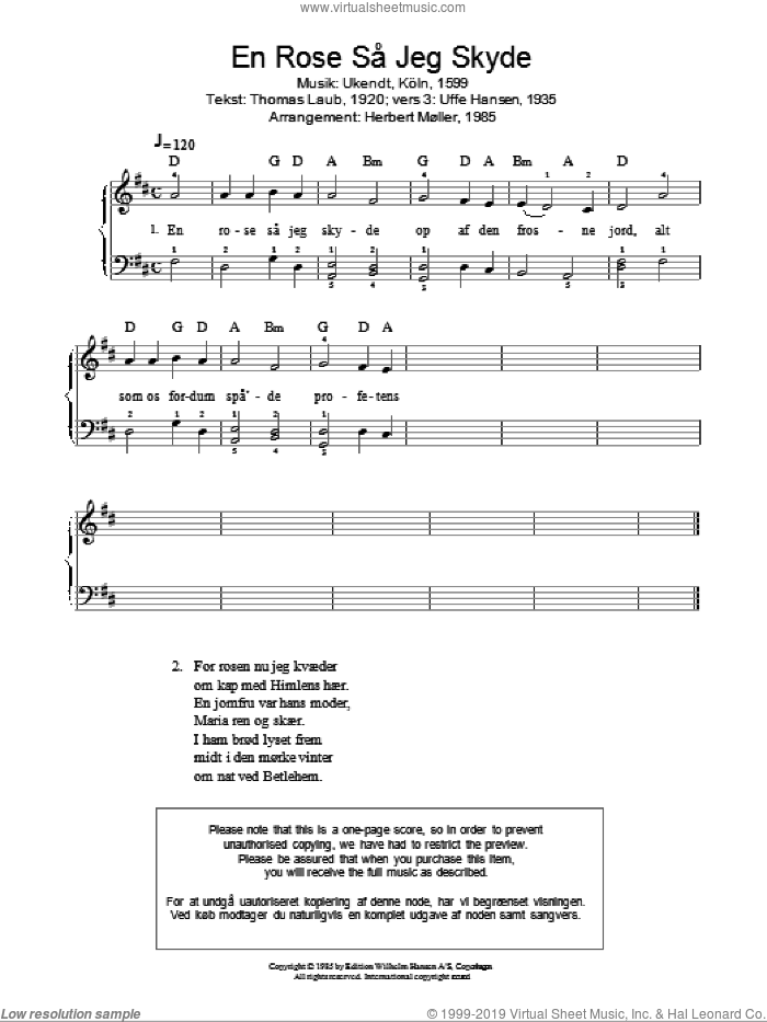 En Rose Sa Jeg Skyde sheet music for piano solo. Score Image Preview.