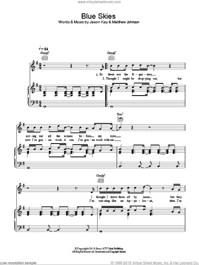 Blue Skies sheet music for voice, piano or guitar by Matt Johnson and Jason Kay. Score Image Preview.