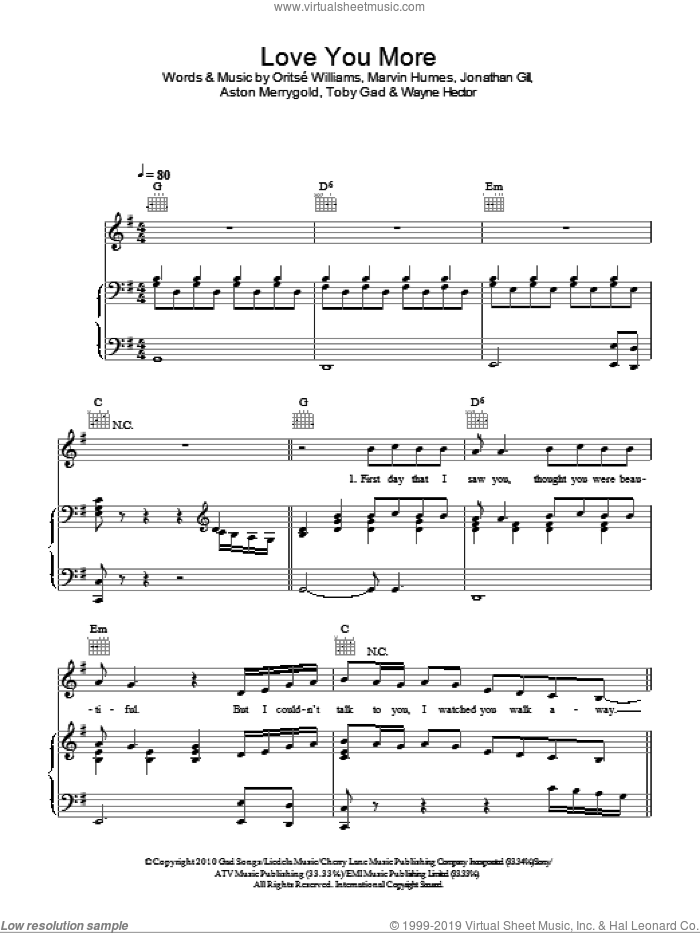 Love You More sheet music for voice, piano or guitar by JLS, Toby Gad and Wayne Hector, intermediate voice, piano or guitar. Score Image Preview.