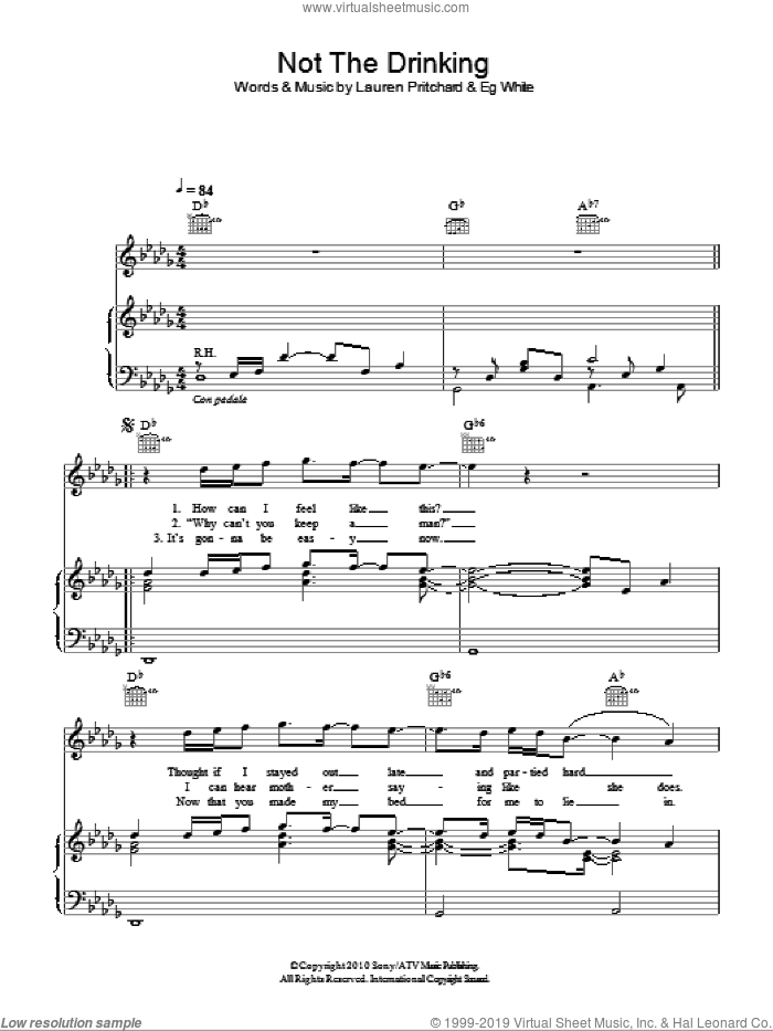 Not The Drinking sheet music for voice, piano or guitar by Eg White