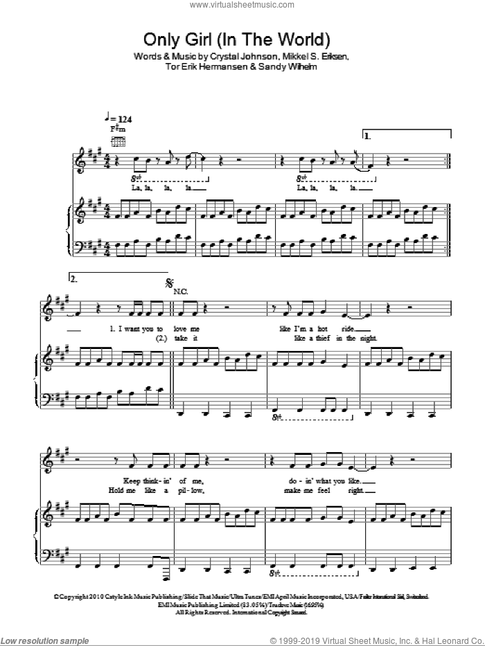 Only Girl (In The World) sheet music for voice, piano or guitar by Rihanna, Crystal Johnson, Mikkel S. Eriksen, Sandy Wilhelm and Tor Erik Hermansen, intermediate skill level