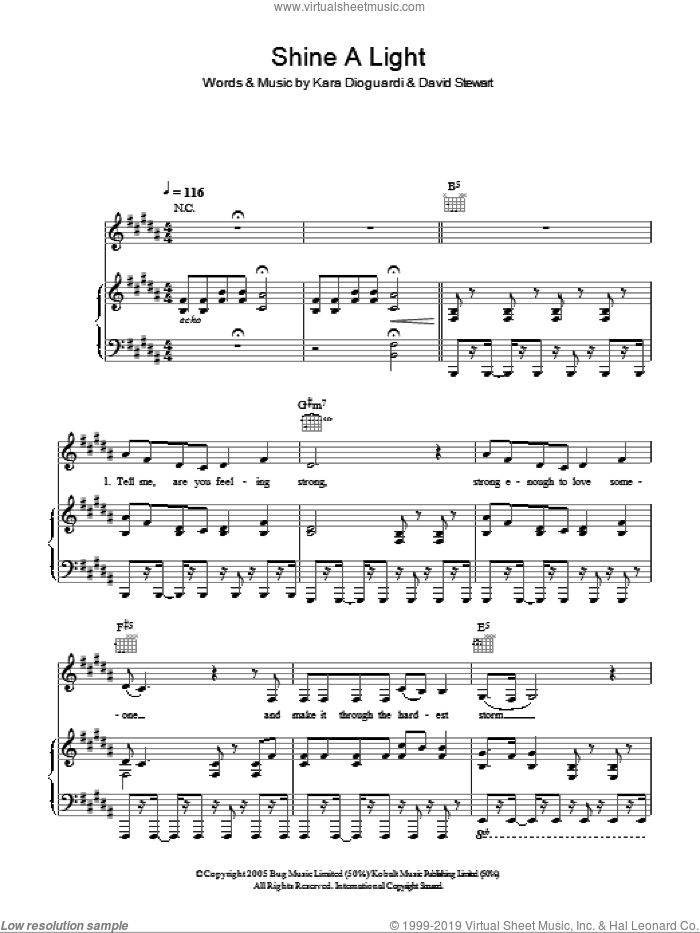 Shine A Light sheet music for voice, piano or guitar by Thomas Fletcher