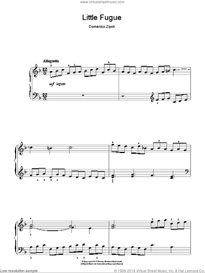 Little Fugue sheet music for piano solo by Domenico Zipoli. Score Image Preview.