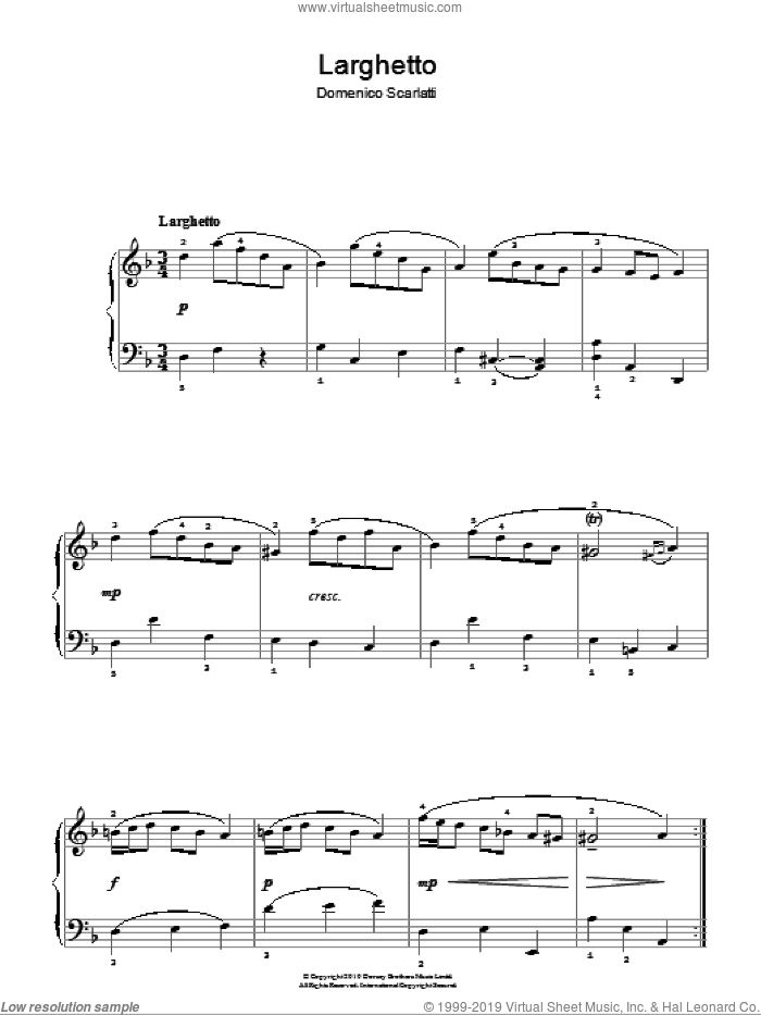 Larghetto sheet music for piano solo by Domenico Scarlatti. Score Image Preview.