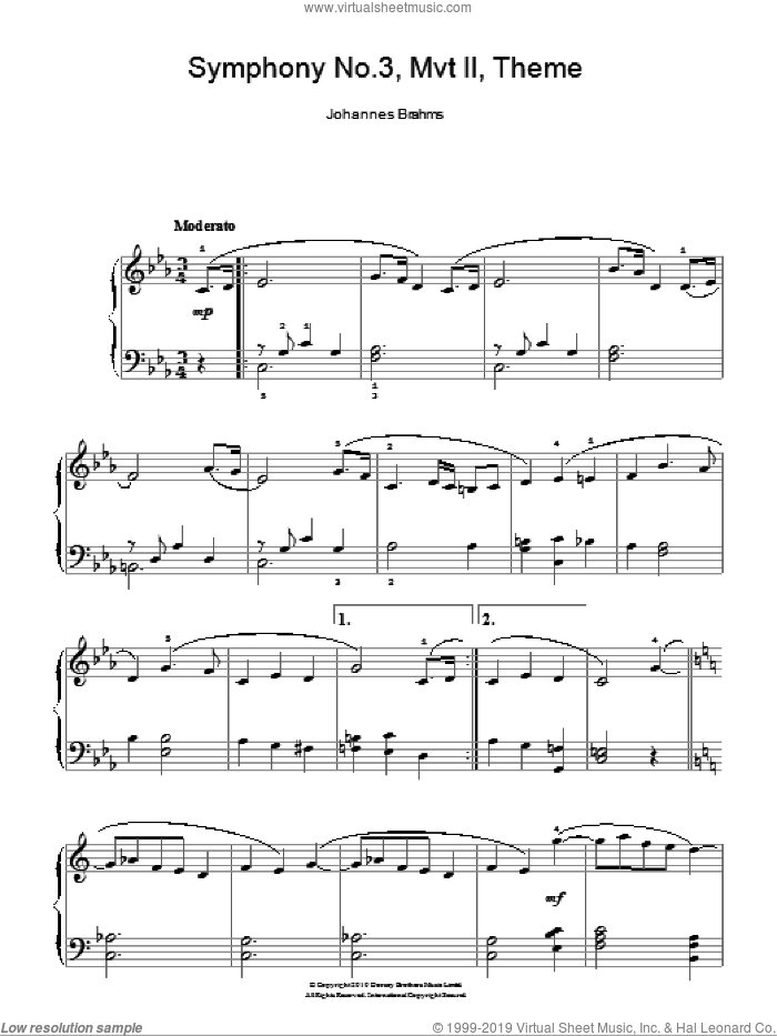 Symphony No. 3, Andante sheet music for piano solo by Johannes Brahms, classical score, easy