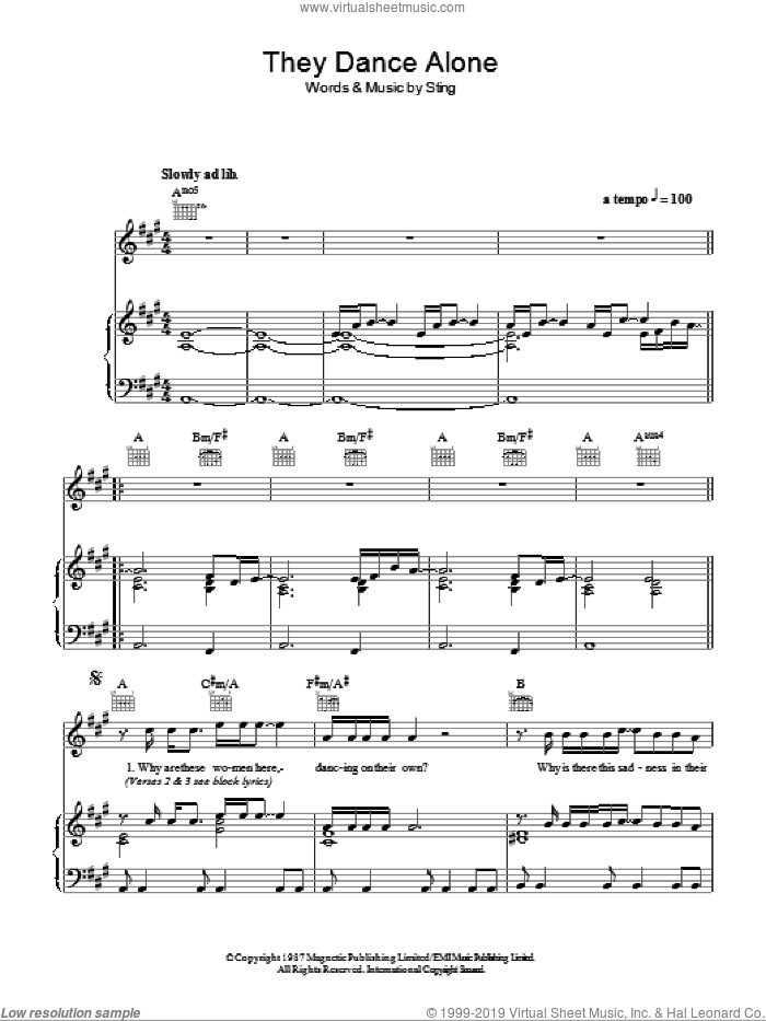 They Dance Alone (Gueca Solo) sheet music for voice, piano or guitar by Sting. Score Image Preview.