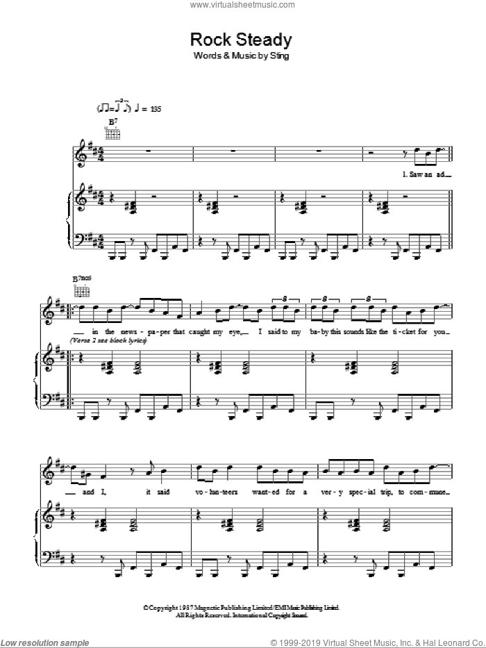 Rock Steady sheet music for voice, piano or guitar by Sting. Score Image Preview.