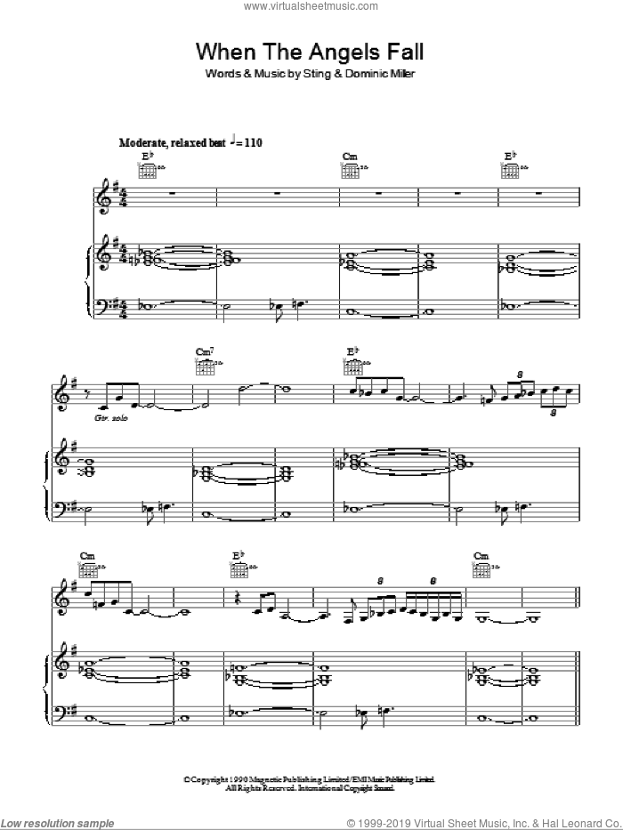 When The Angels Fall sheet music for voice, piano or guitar by Sting, intermediate. Score Image Preview.