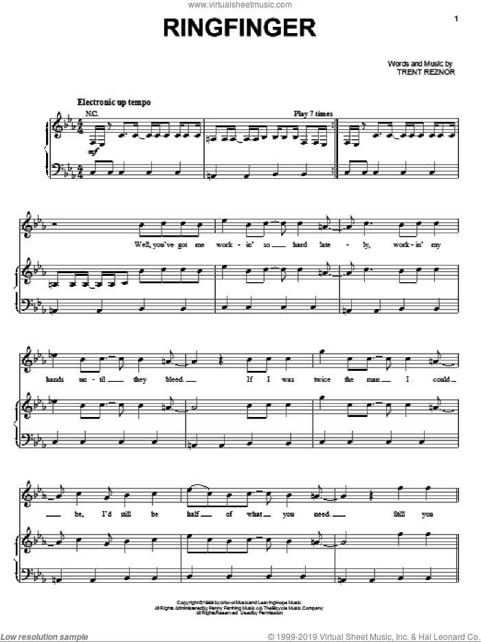 Ringfinger sheet music for voice, piano or guitar by Trent Reznor