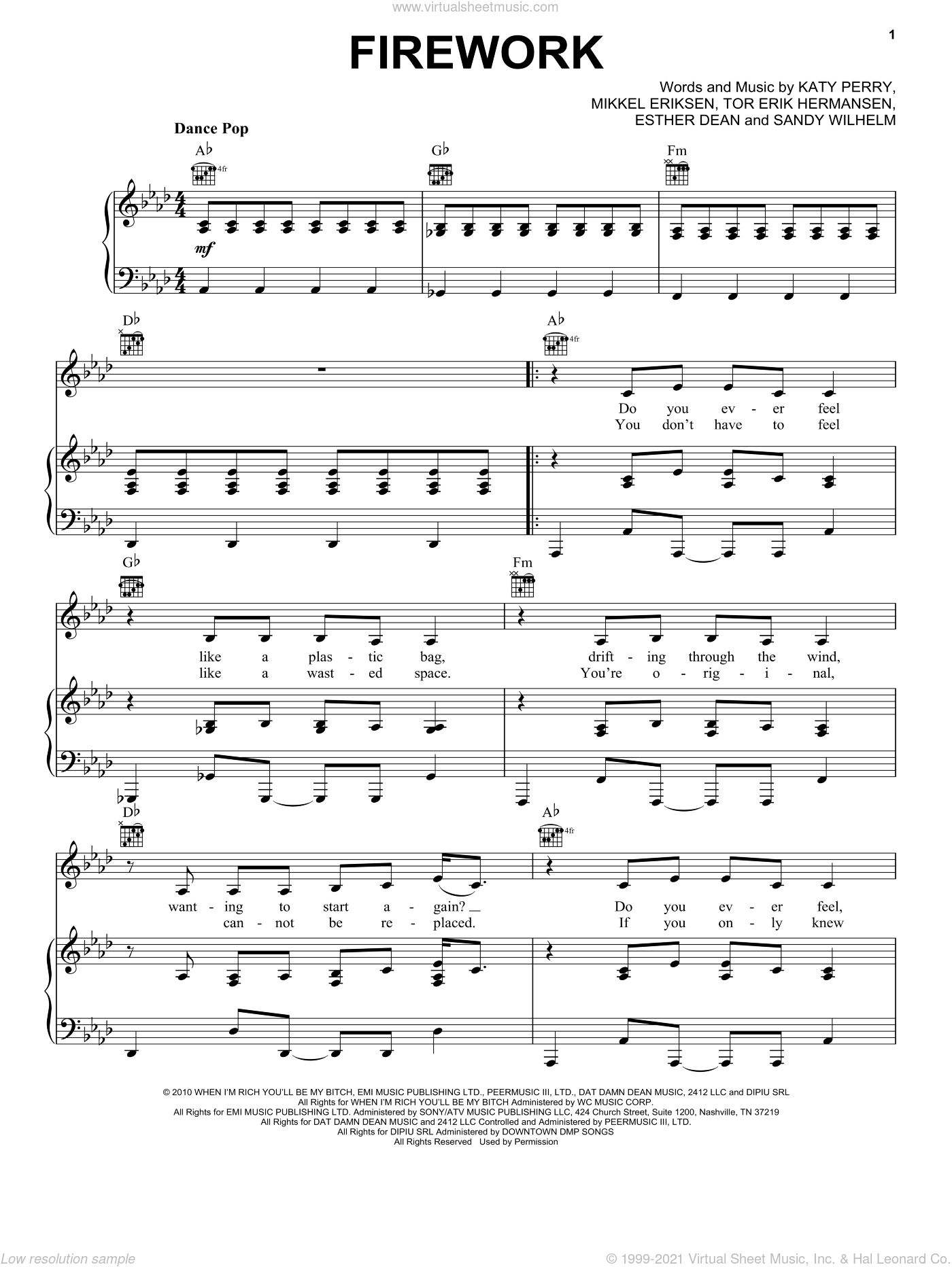 Firework sheet music for voice, piano or guitar by Katy Perry, Ester Dean, Mikkel Eriksen, Sandy Wilhelm and Tor Erik Hermansen, intermediate. Score Image Preview.
