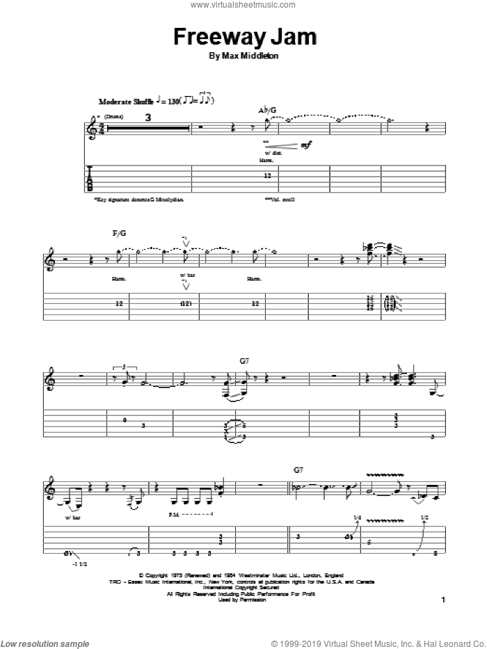 Freeway Jam sheet music for guitar (tablature, play-along) by Jeff Beck, intermediate. Score Image Preview.