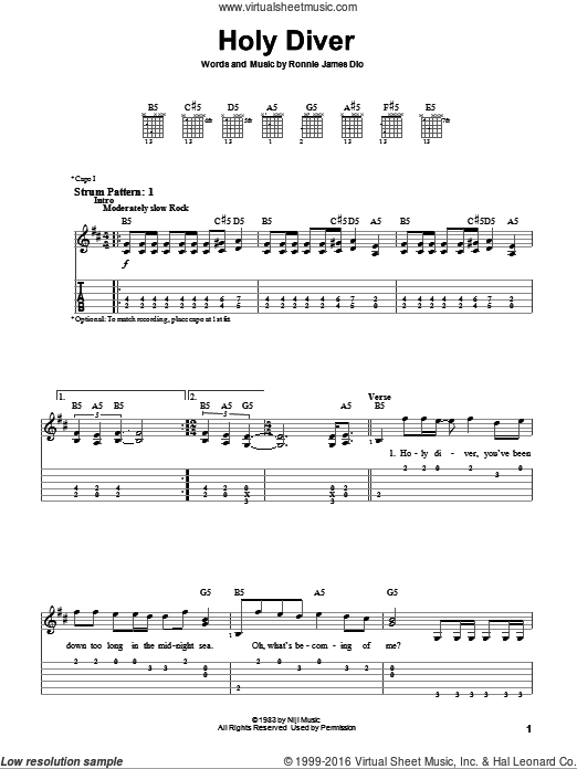 Holy Diver sheet music for guitar solo (easy tablature) by Dio and Ronnie  James