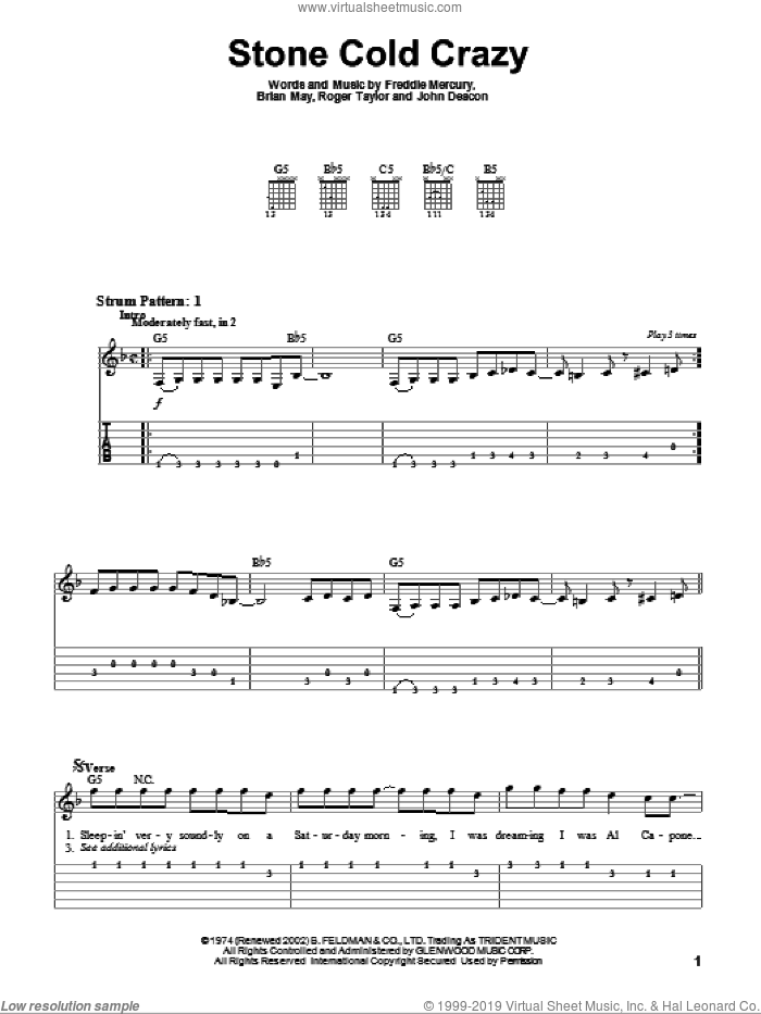 Stone Cold Crazy sheet music for guitar solo (easy tablature) by Queen, Metallica, Brian May, Freddie Mercury, John Deacon and Roger Taylor, easy guitar (easy tablature)