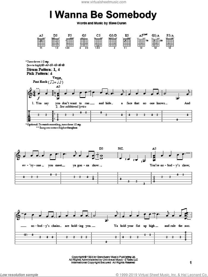 I Wanna Be Somebody sheet music for guitar solo (easy tablature) by W.A.S.P. and Steve Duren, easy guitar (easy tablature)