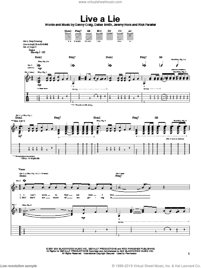 Live A Lie sheet music for guitar (tablature) by Default. Score Image Preview.