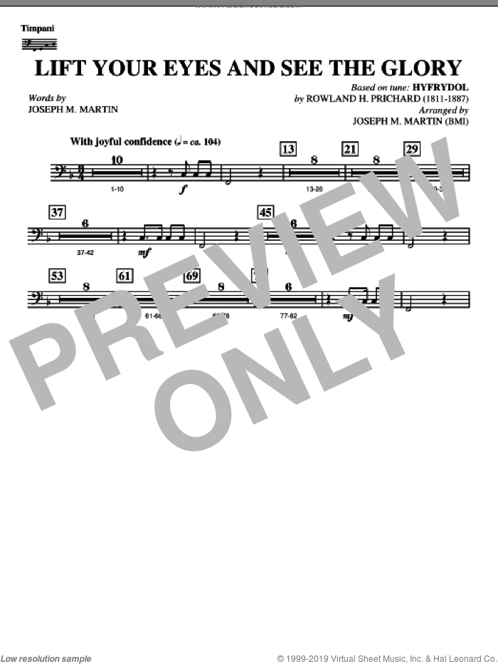 Lift Your Eyes And See The Glory sheet music for orchestra/band (timpani) by Rowland Prichard