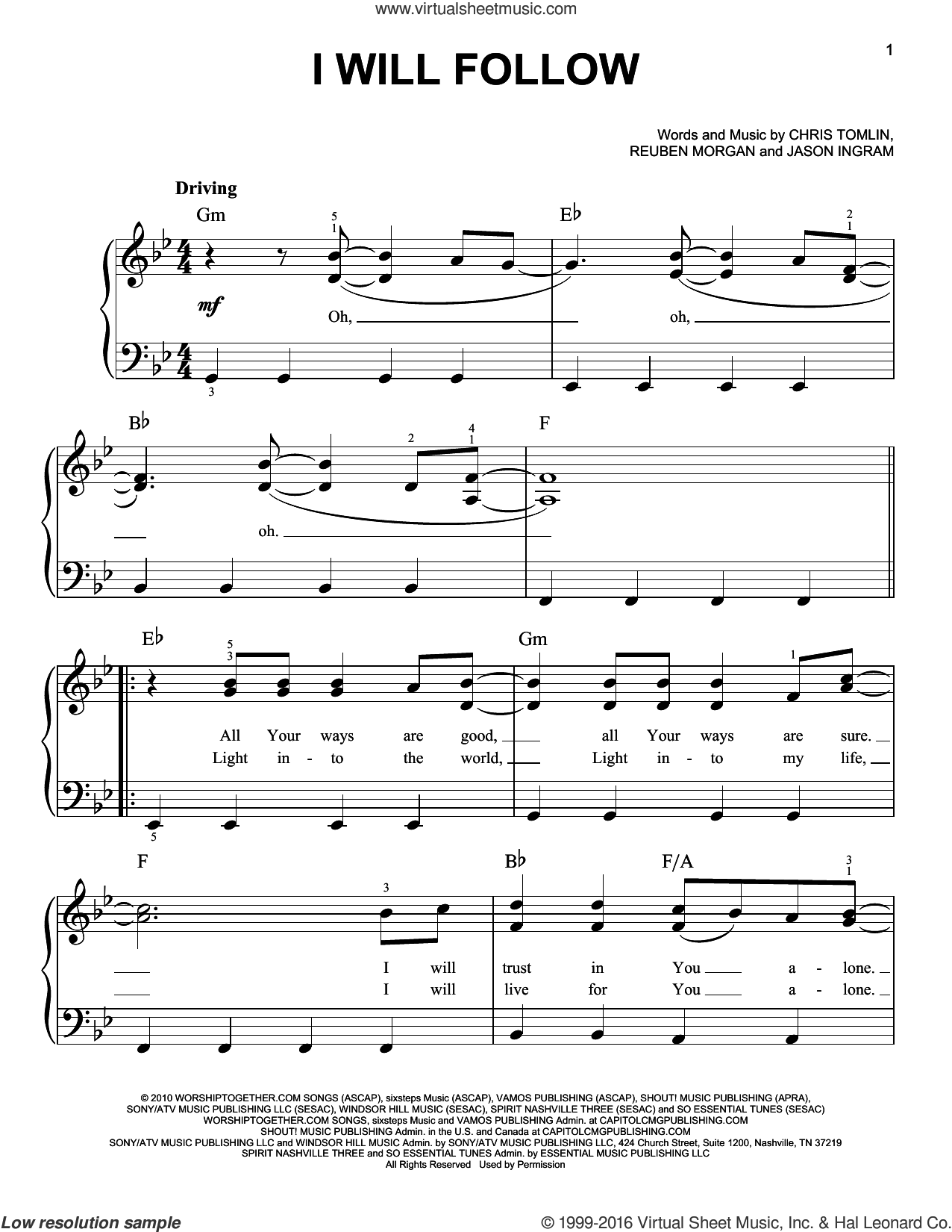 I Will Follow sheet music for piano solo by Chris Tomlin, Jason Ingram and Reuben Morgan, easy skill level