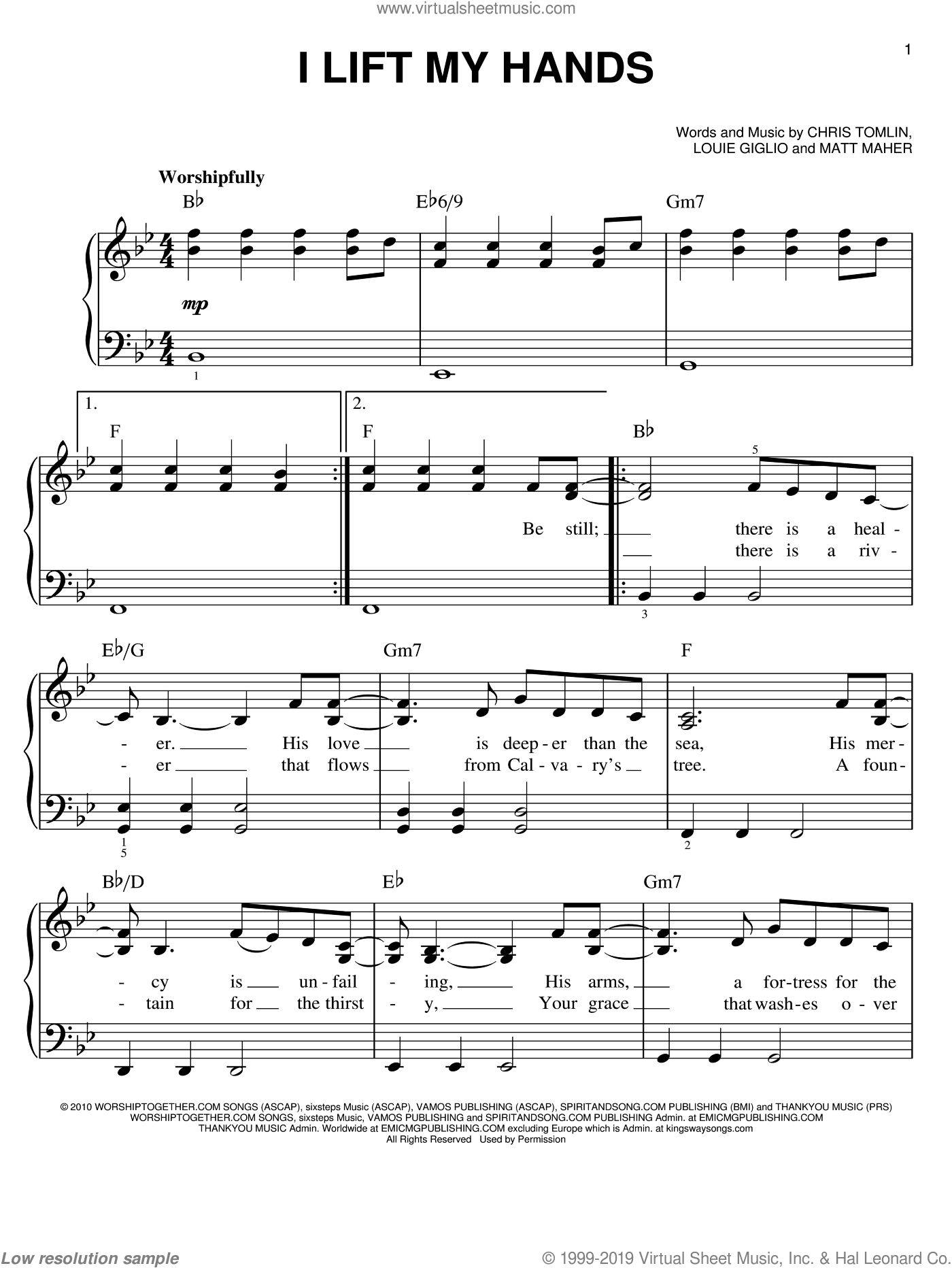 I Lift My Hands sheet music for piano solo by Chris Tomlin and Matt Maher. Score Image Preview.