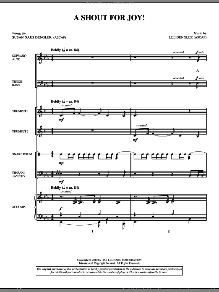 A Shout For Joy! sheet music for orchestra/band (full score) by Lee Dengler