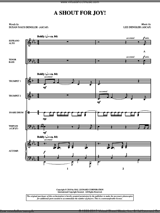 A Shout For Joy! (COMPLETE) sheet music for orchestra by Lee Dengler