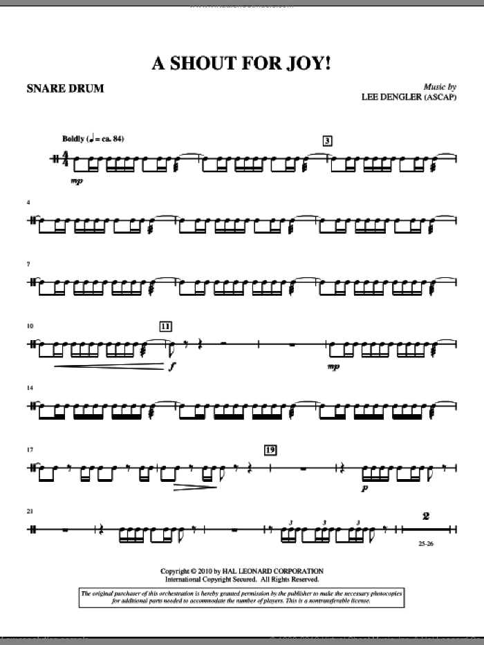 A Shout For Joy! (complete set of parts) sheet music for orchestra/band (Brass) by Lee Dengler and Susan Naus Dengler, intermediate skill level