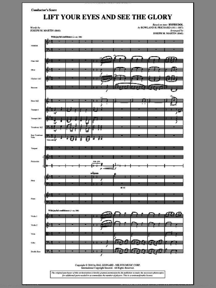 Lift Your Eyes And See The Glory (complete set of parts) sheet music for orchestra/band (Orchestra) by Joseph M. Martin and Rowland Prichard, intermediate orchestra. Score Image Preview.