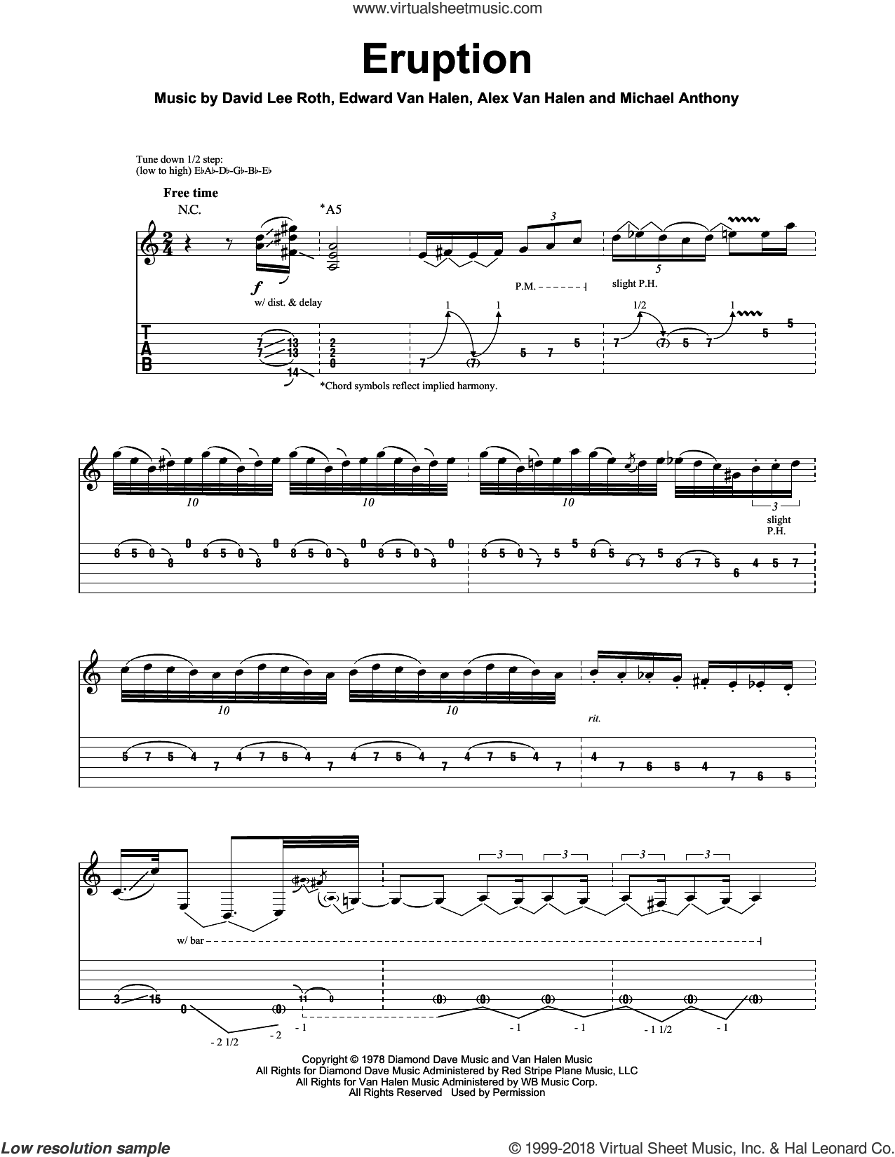 Eruption sheet music for guitar (tablature, play-along) by Michael Anthony, Alex Van Halen, David Lee Roth and Edward Van Halen. Score Image Preview.