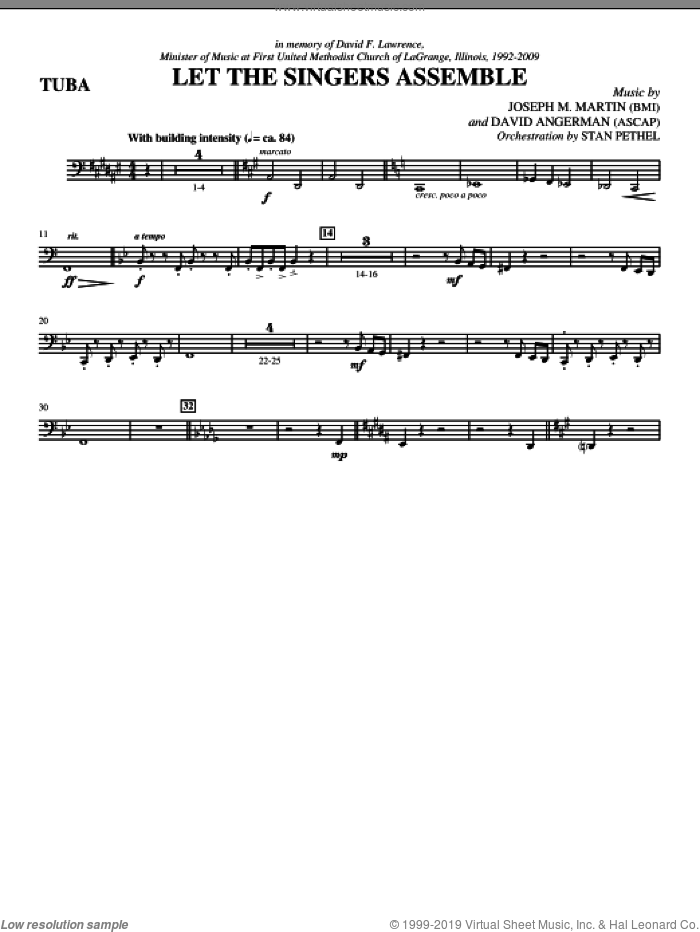 Let The Singers Assemble (complete set of parts) sheet music for orchestra/band (Brass) by Joseph M. Martin and David Angerman, intermediate. Score Image Preview.