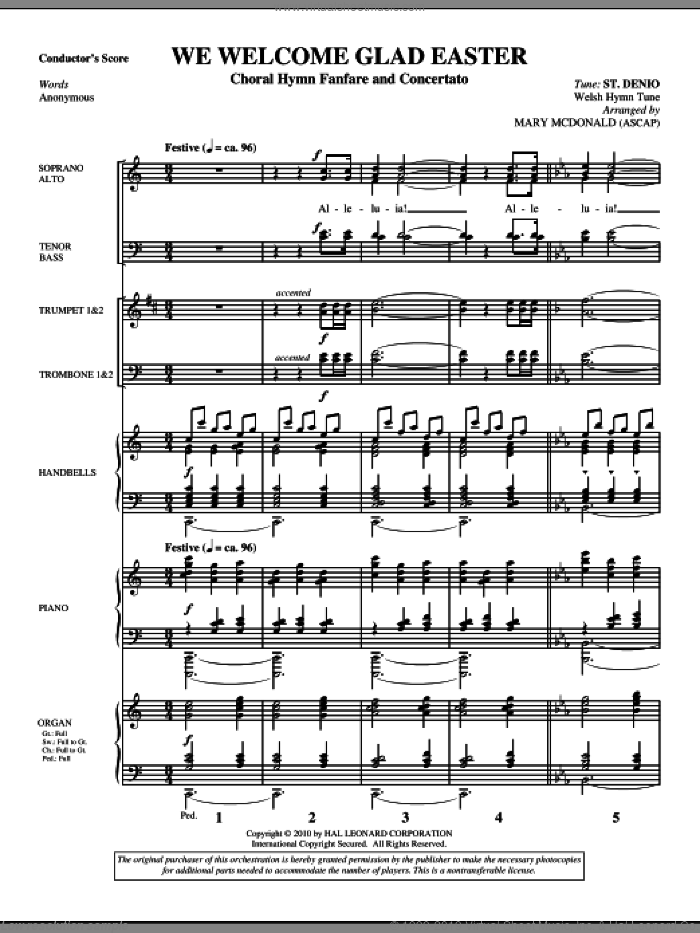 We Welcome Glad Easter (complete set of parts) sheet music for orchestra/band (Brass) by Mary McDonald, Miscellaneous and Anonymous, intermediate orchestra/band (Brass). Score Image Preview.