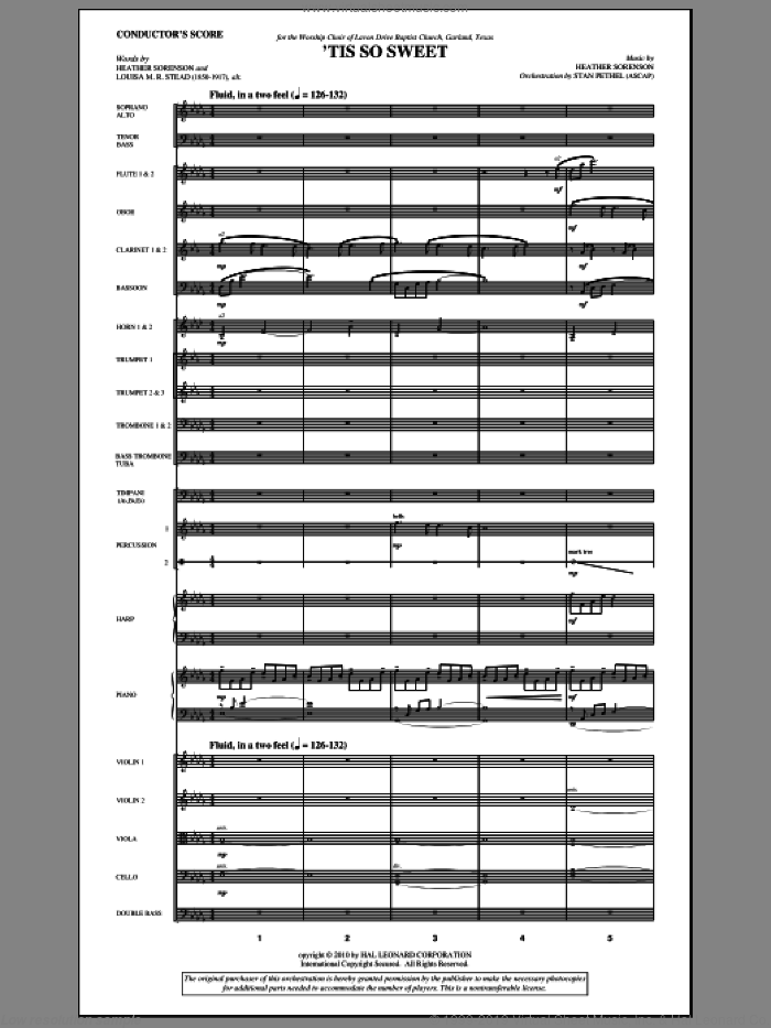 'Tis So Sweet sheet music for orchestra/band (full score) by Heather Sorenson