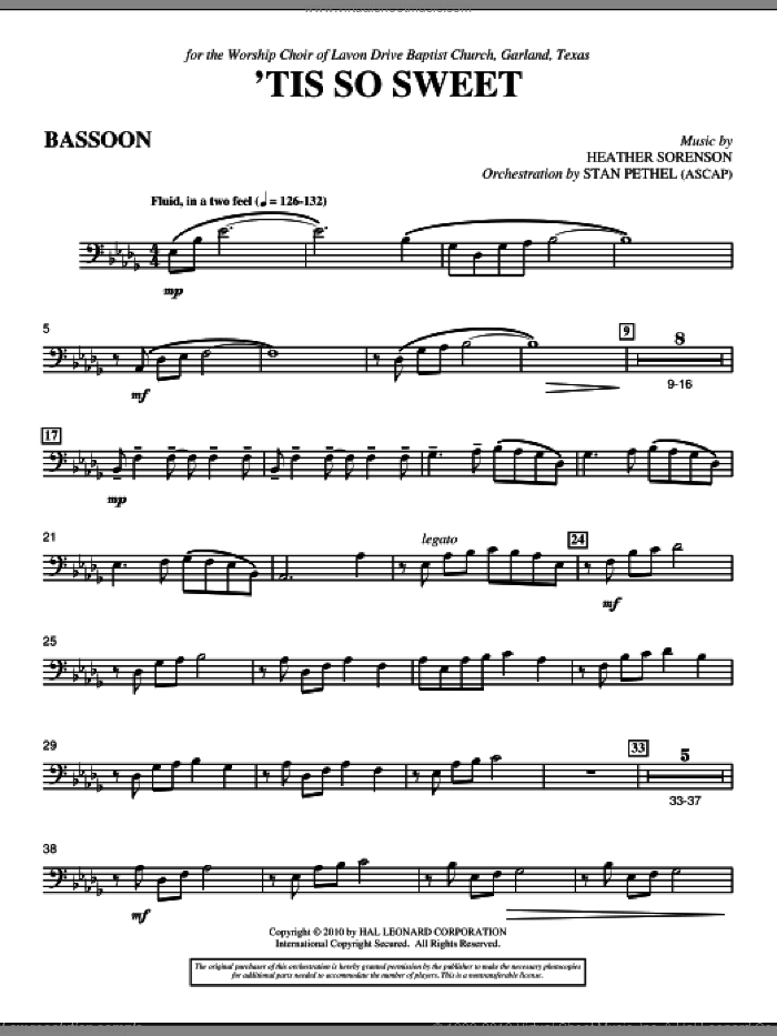 'Tis So Sweet sheet music for orchestra/band (bassoon) by Heather Sorenson