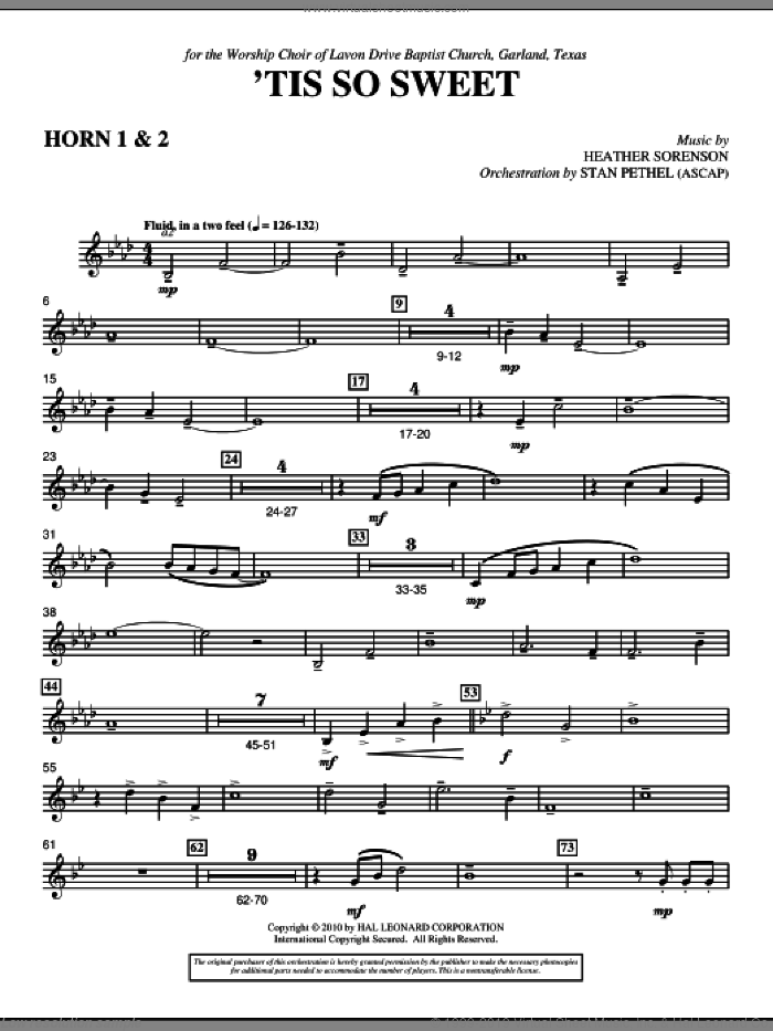 'Tis So Sweet sheet music for orchestra/band (f horn 1,2) by Heather Sorenson