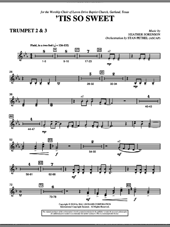 'Tis So Sweet sheet music for orchestra/band (Bb trumpet 2,3) by Heather Sorenson