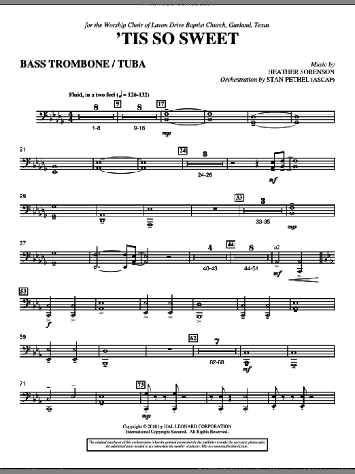 'Tis So Sweet sheet music for orchestra/band (bass trombone/tuba) by Heather Sorenson