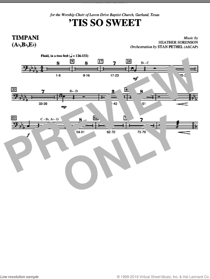 'Tis So Sweet sheet music for orchestra/band (timpani) by Heather Sorenson
