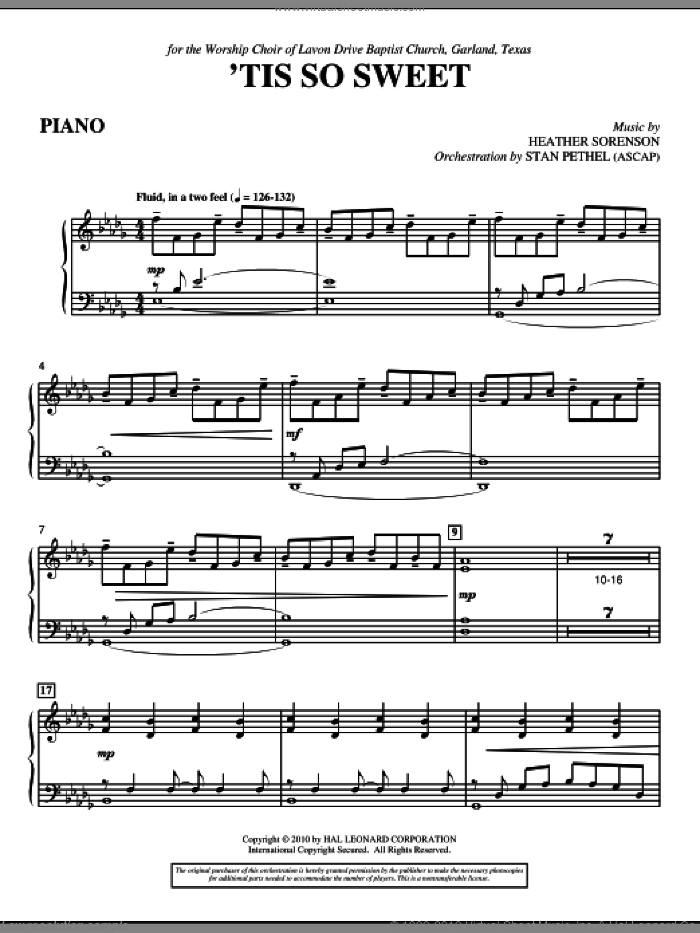 'Tis So Sweet sheet music for orchestra/band (piano) by Heather Sorenson