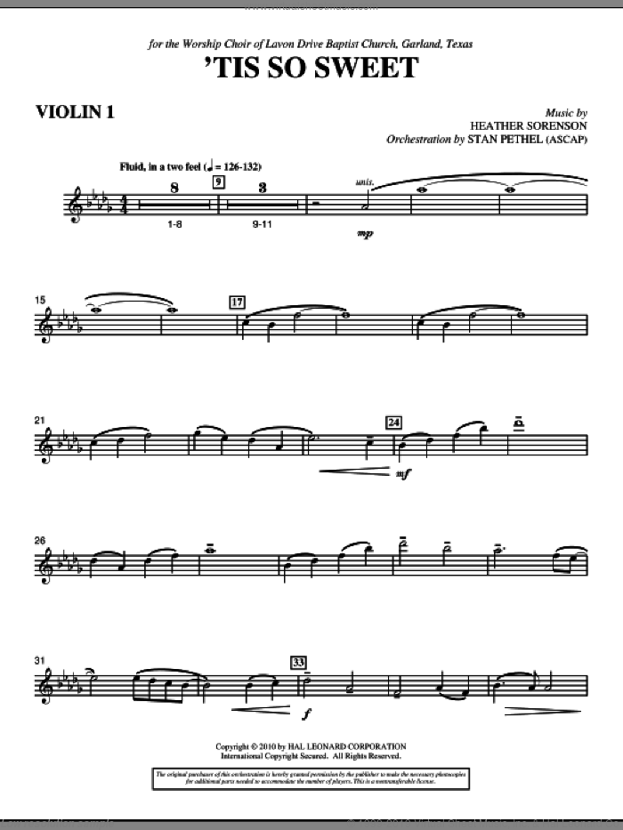 'Tis So Sweet sheet music for orchestra/band (violin 1) by Heather Sorenson