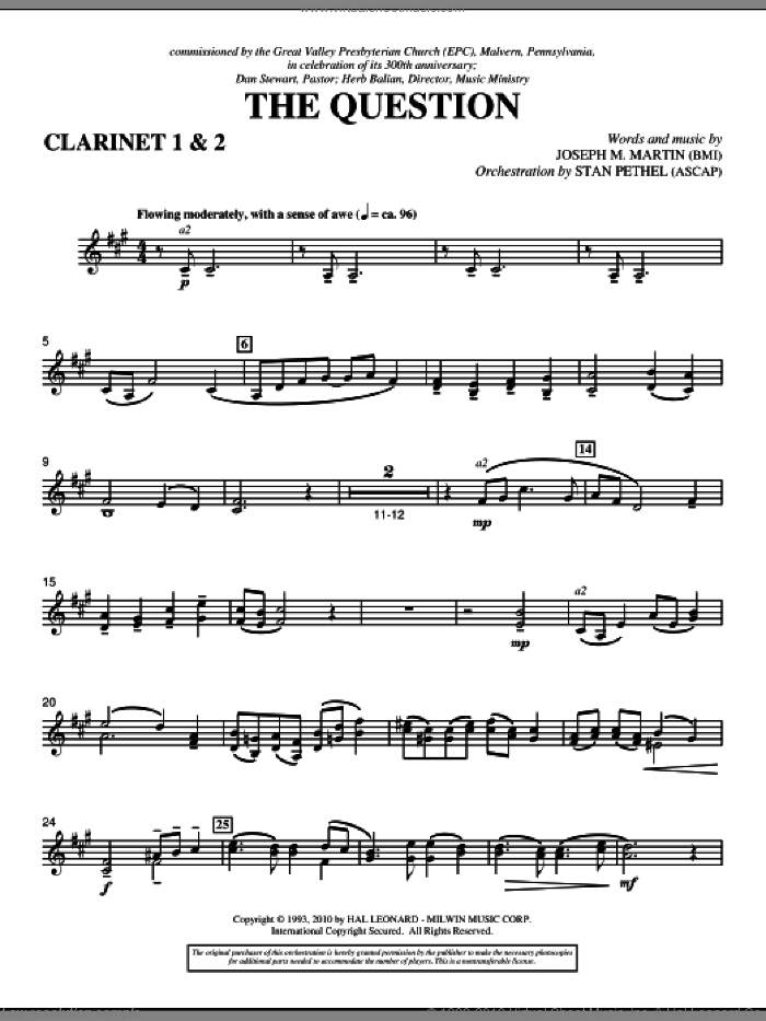 The Question sheet music for orchestra/band (Bb clarinet 1,2) by Joseph M. Martin