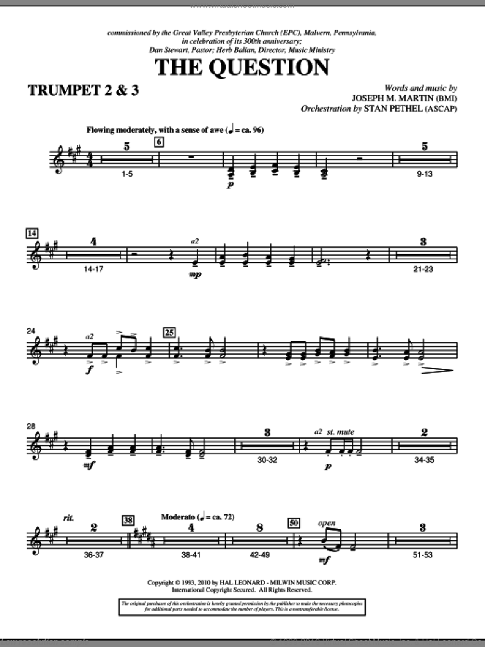 The Question sheet music for orchestra/band (Bb trumpet 2,3) by Joseph M. Martin