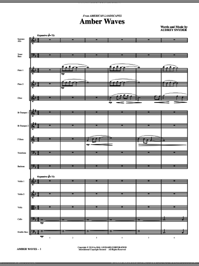 Amber Waves sheet music for orchestra/band (Chamber) by Audrey Snyder