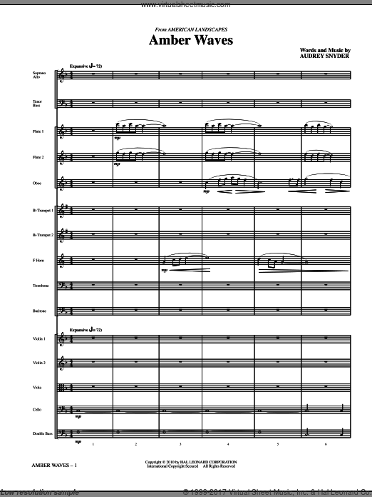 Amber Waves (COMPLETE) sheet music for orchestra by Audrey Snyder