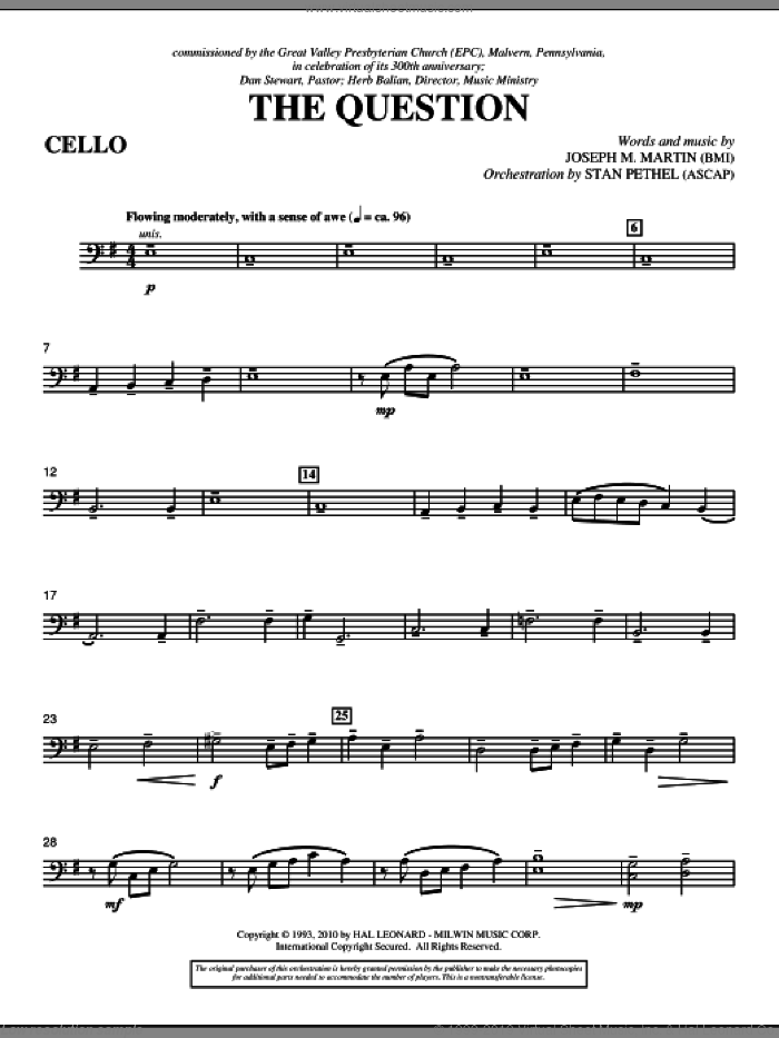 The Question sheet music for orchestra/band (cello) by Joseph M. Martin