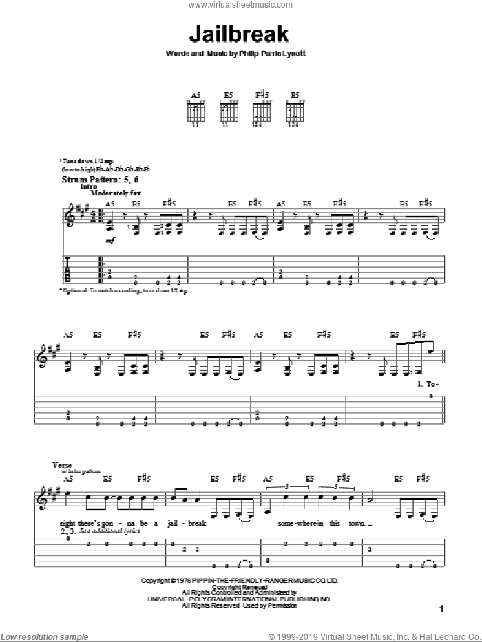 Jailbreak sheet music for guitar solo (easy tablature) by Thin Lizzy and Phil Lynott. Score Image Preview.