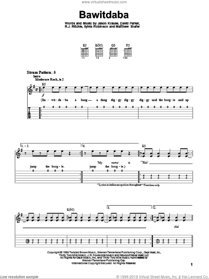 Bawitdaba sheet music for guitar solo (easy tablature) by Sylvia Robinson, Kid Rock, Jason Krause, Matthew Shafer and R.J. Ritchie. Score Image Preview.