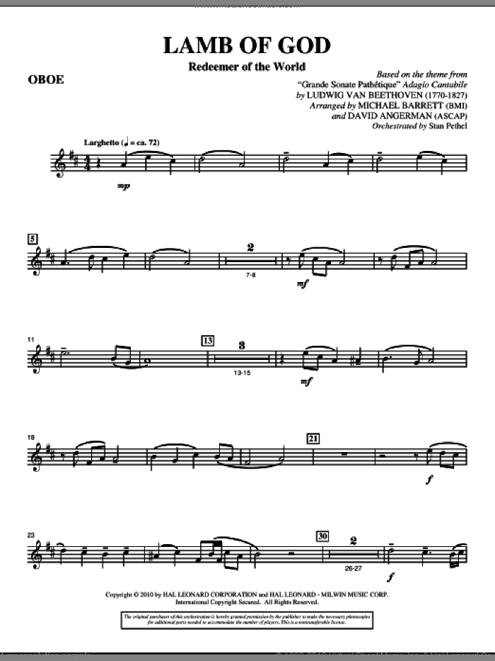 Lamb Of God (Redeemer Of The World) sheet music for orchestra/band (oboe) by Ludwig van Beethoven