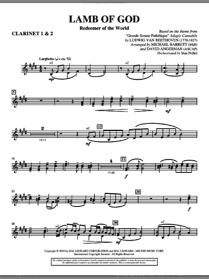 Lamb Of God (Redeemer Of The World) sheet music for orchestra/band (Bb clarinet 1,2) by Ludwig van Beethoven