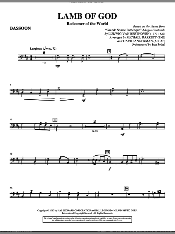 Lamb Of God (Redeemer Of The World) sheet music for orchestra/band (bassoon) by Ludwig van Beethoven