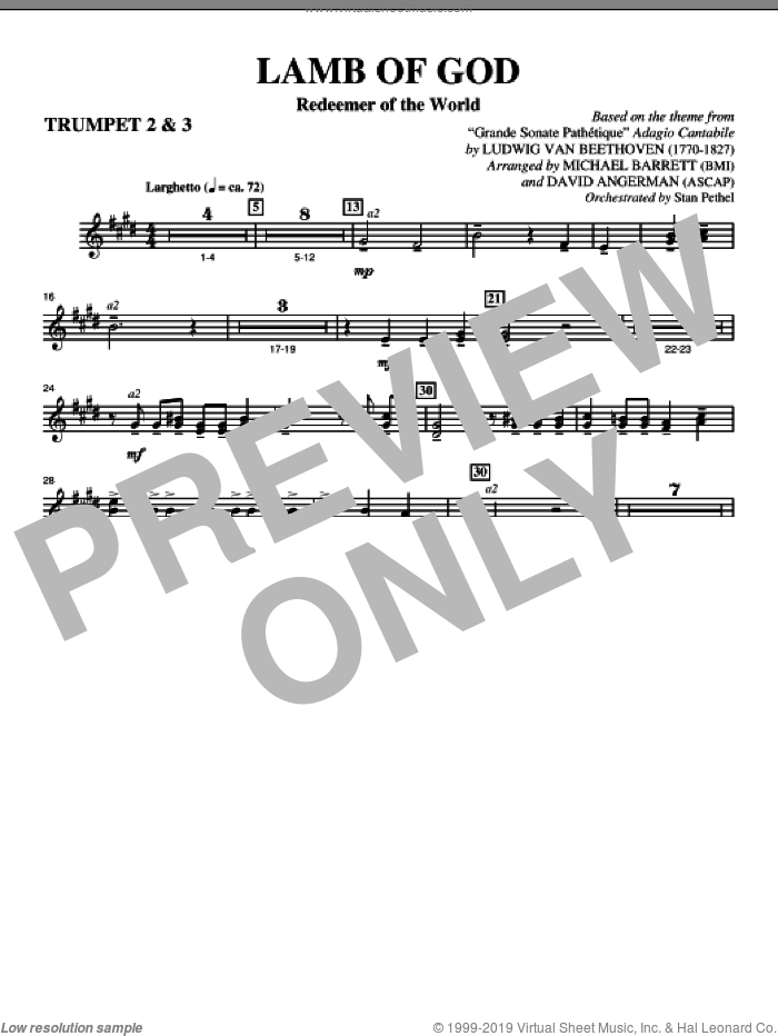 Lamb Of God (Redeemer Of The World) sheet music for orchestra/band (Bb trumpet 2,3) by Ludwig van Beethoven
