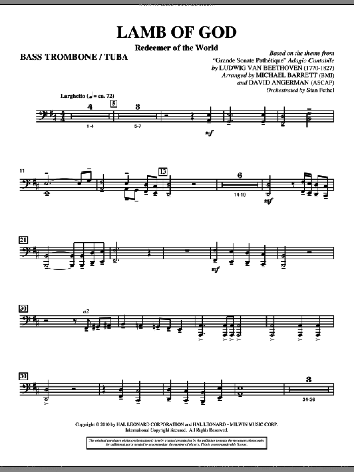 Lamb Of God (Redeemer Of The World) sheet music for orchestra/band (bass trombone/tuba) by Ludwig van Beethoven